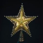24cm Lighted Gold Glittered and Beaded Star Christmas Tree Topper - Clear Lights