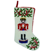 46cm Traditional Nutcracker Soldier and Holly Plush Textured Christmas Stocking