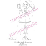 Stamping Bella Cling Rubber Stamp 11cm x 6.4cm -Uptown Girl Lolly & Her Brolly