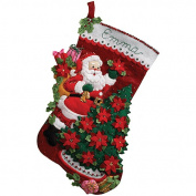 Bucilla Felt Applique Stocking, Santa Poinsettia Tree