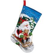 Bucilla 86279 Santa's Sled Stocking Felt Applique Kit, 46cm