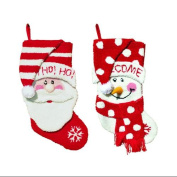 2 Plush Hooked Santa Claus and Snowman Red and White Christmas Stockings 47cm