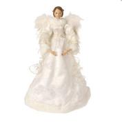 44cm White with Gold Trim Elegant Angel Christmas Tree Topper - Unlit