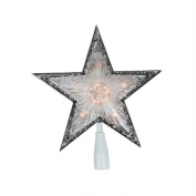 25cm Lighted Clear with Silver Trim Star Christmas Tree Topper - Clear Lights