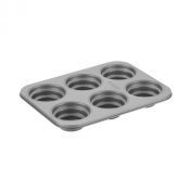 Cake Boss Novelty Bakeware 6-Cup Round Cakelette Pan, Grey