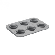 Cake Boss Novelty Bakeware 6-Cup Square Cakelette Pan, Grey