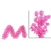 2.7m x 36cm Pre-Lit Hot Pink Wide Cut Laser Tinsel Christmas Garland - Pink Lights