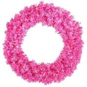 80cm Pre-Lit Sparkling Pink Wide Cut Artificial Christmas Wreath - Pink Lights