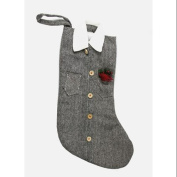 50cm Silver and Black Tweed Button Down Shirt Christmas Stocking w/ Cardinal Bird