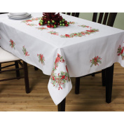 BUCILLA Stamped Cross Stitch Cardinals Tablecloth Kit, 150cm by 260cm