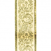 Offray Golden Paisley Craft Ribbon, 3.8cm Wide by 10-Yard Spool, Ivory with Metallic Gold