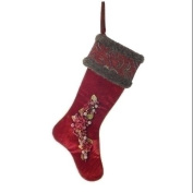 70cm Traditional Red Beaded Berry and Filigree Christmas Stocking