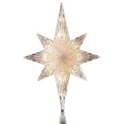 28cm Lighted Clear Faceted Bethlehem Star Christmas Tree Topper - Clear Lights