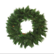 90cm Green Long Needle Pine Artificial Christmas Wreath with Pine Cones - Unlit