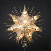 36cm Lighted Capiz Sunburst 7-Point Star Christmas Tree Topper - Clear Lights