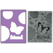 Sizzix Textured Impressions A2 Embossing Folder & Stamp Set-Collage Background By Hero Arts
