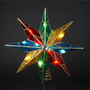 25cm Lighted Capiz Poinsettia Star Christmas Tree Topper - Clear Lights