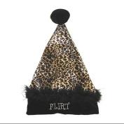 """43cm Black & Tan Leopard """"Flirt"""" Velvet Santa Hat - Size Large"""