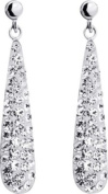 9ct White Gold White Crystal Bomb Drop Earrings.