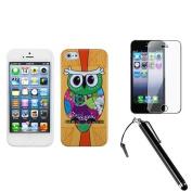 INSTEN Tropical Orange Owl Candy Skin Case For iPhone 5 + Film + Stylus Pen