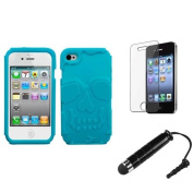 INSTEN Tropical Teal Skullcap Base Hybrid Case+Protector+Pen For APPLE iPhone 4S/4