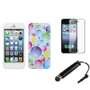 INSTEN Rainbow Bigger Bubbles Candy Case Cover+Protector+Mini Pen For APPLE iPhone 5