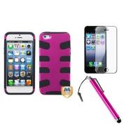 INSTEN Titanium Hot Pink/Black Fishbone Case For iPhone 5 / 5s + Film + Stylus Pen