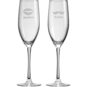 Personalised Lips and Moustache Champagne Flutes, Set of 2