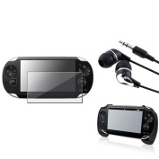 INSTEN Black Hand Grip+Clear Film Protector+Black/Silver Headset For Sony PS Vita PSV