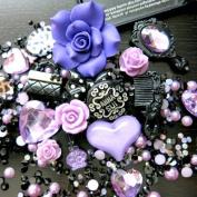 BSI - 3D DIY Bling Bling Cell Phone Case Resin Flatback Kawaii Cabochons Decoration Kit / Set ~ Lavender