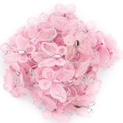50pcs Wired Mesh Stocking Glitter Butterflies - Pink
