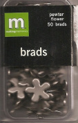 Making Memories Pewter Flower Brads 50 Each