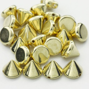 AutoM OEM Golden Colour 100PCS 9MM Bullet Cone Spike Acrylic Rivet Punk Bracelet Spacer Leathercraft DIY
