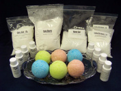 Complete Bath Bomb Starter Kit, 2 lbs. Baking Soda, 1 Lb. Citric, 1 lb. Corn Starch, 1 lb. Epsom Salt, 4 x 30ml fragrances, 4 x 30ml FD & C = Strawberry Red, Lemon Yellow, Sky Blue, Mint Green. Moulds not included.