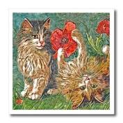 Cassie Peters Digital Art - Vintage Kitties and Poppies Digital Painting by Angelandspot - Iron on Heat Transfers
