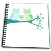 Janna Salak Designs Woodland Creatures - Cute Owl Family with Baby Boy - Blue and Green - Drawing Book