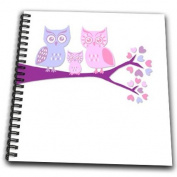 Janna Salak Designs Woodland Creatures - Cute Owl Family with Baby Girl - Purple and Pink - Drawing Book