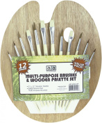 Art Advantage Wood Palette with 12 Brushes