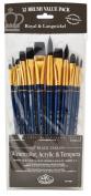 Royal Brush Manufacturing Royal and Langnickel Zip N' Close 12-Piece Brush Set, Soft Black Taklon