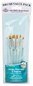 Royal Gold Taklon Filbert/Angular 6 Piece Value Pack Brush Set - Rset-9171