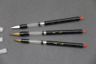 Set of 3 Piston Fill Waterbrush for Sumi or Chinese Painting, Watercolour or Watersoluble Pencils and Crayons