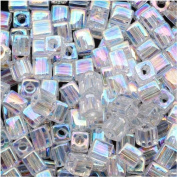 Miyuki 4mm Glass Cube Beads Crystal Clear AB #250 10 Grammes