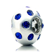 "Pacific Beads Silver Plated Crystal Bead - ""Disco Night"" Blue Crystal"