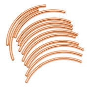 Copper Plated Curved Noodle Tube Beads 2mm x 38mm