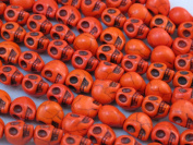 "10x12mm Orange Colour Howlite Carved Skull Beads 16"" Strand"
