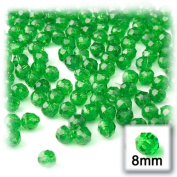 200pc Faceted Plastic Beads Round Transparent Faceted 8mm Light Green beads