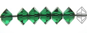3x5mm Medium Emerald, Czech MC Spacer Bead (Squished Bicone), 36 pieces