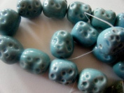 Bead, Porcelain Turquoise Blue 25mm Textured Oval - 7""