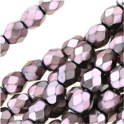 Czech Fire Polish Glass Beads 4mm Round Full Pearlized - Dusty Rose On Jet