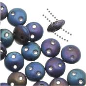 CzechMates Glass 2-Hole Round Flat Lentil Beads 6mm - Matte Iris Blue